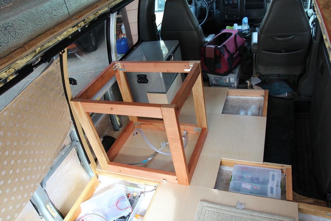 sink cabinet frame inside the van