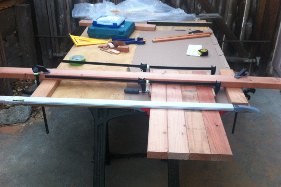 setting up to cut 2x4s