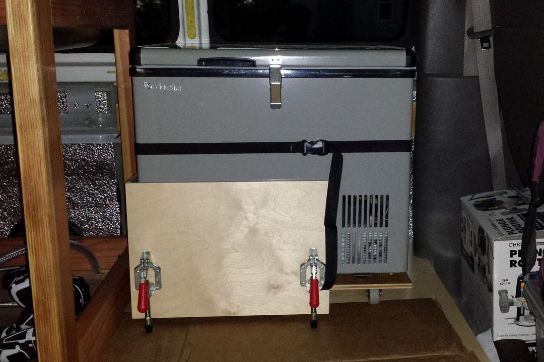 fridge strapped in