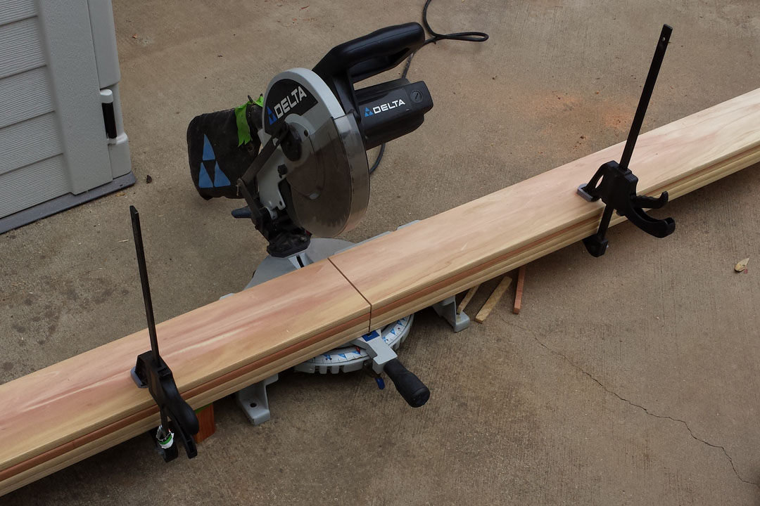 cutting wood with a miter saw