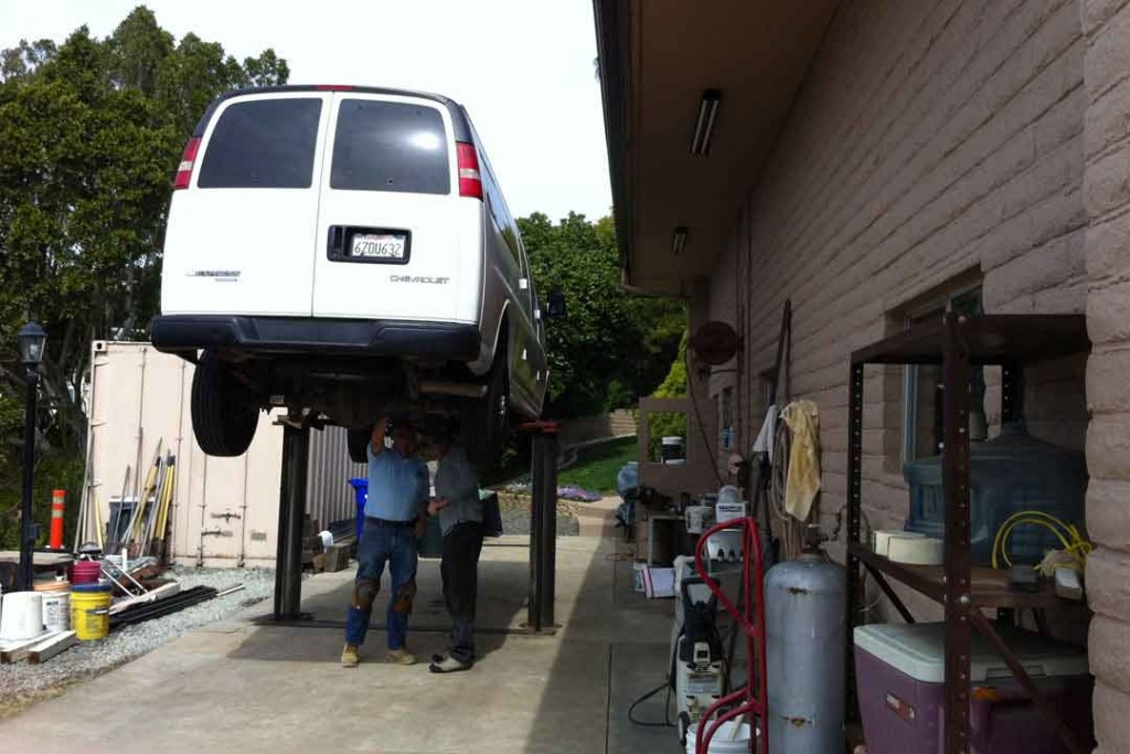 The van on a hydraulic lift