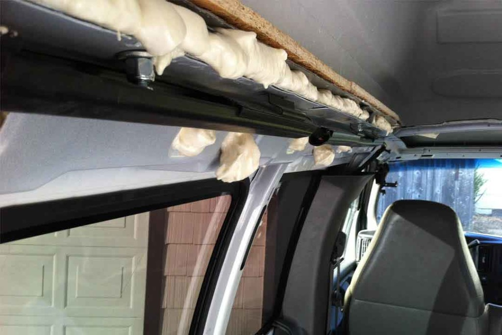 van conversion cracks filled with foam