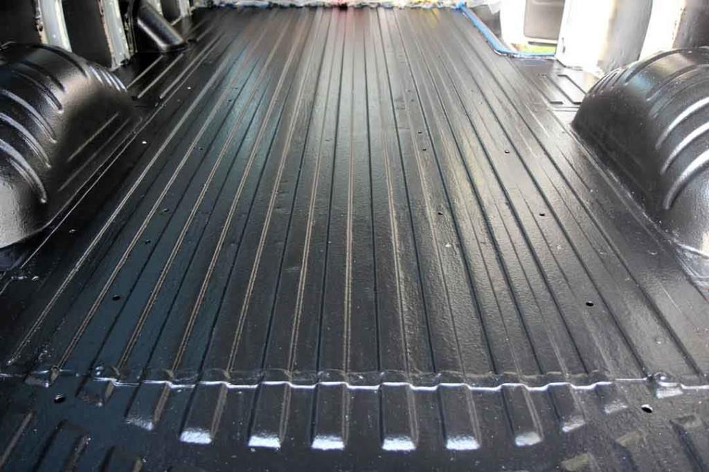 van floor covered in bed liner