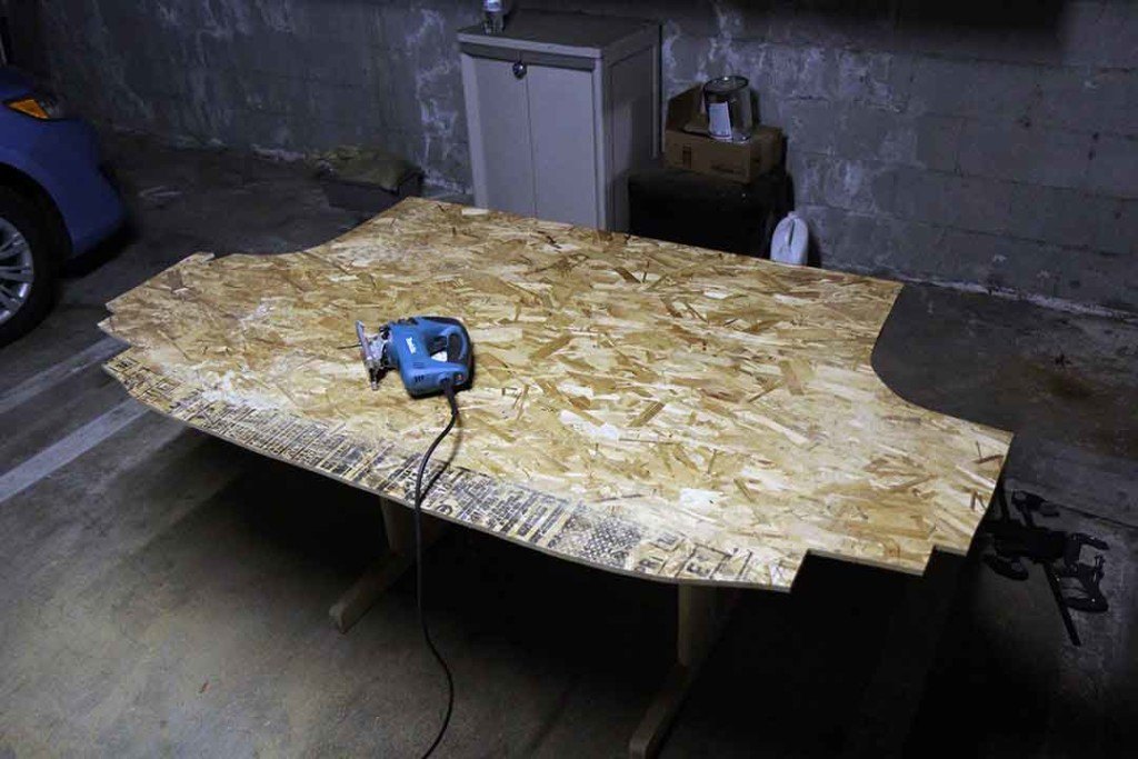van conversion subfloor cut from OSB