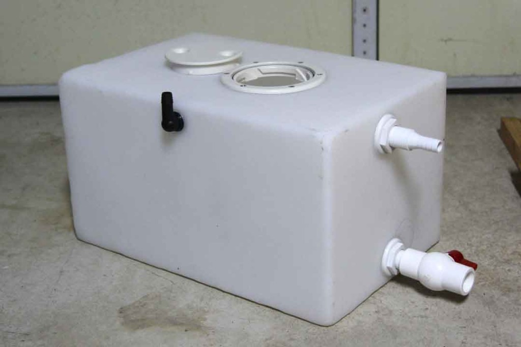 grey water tank with fittings for van