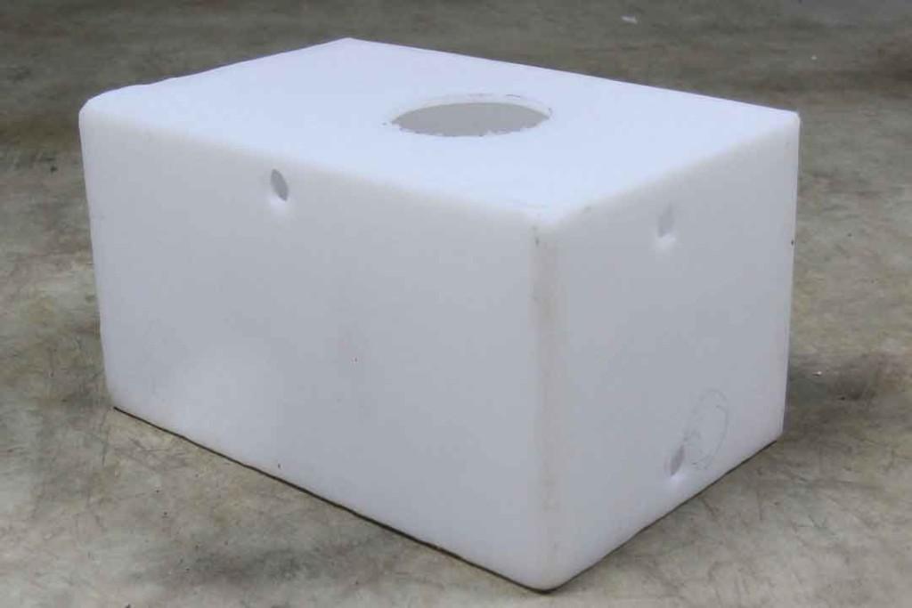 holes cut in blank water tank
