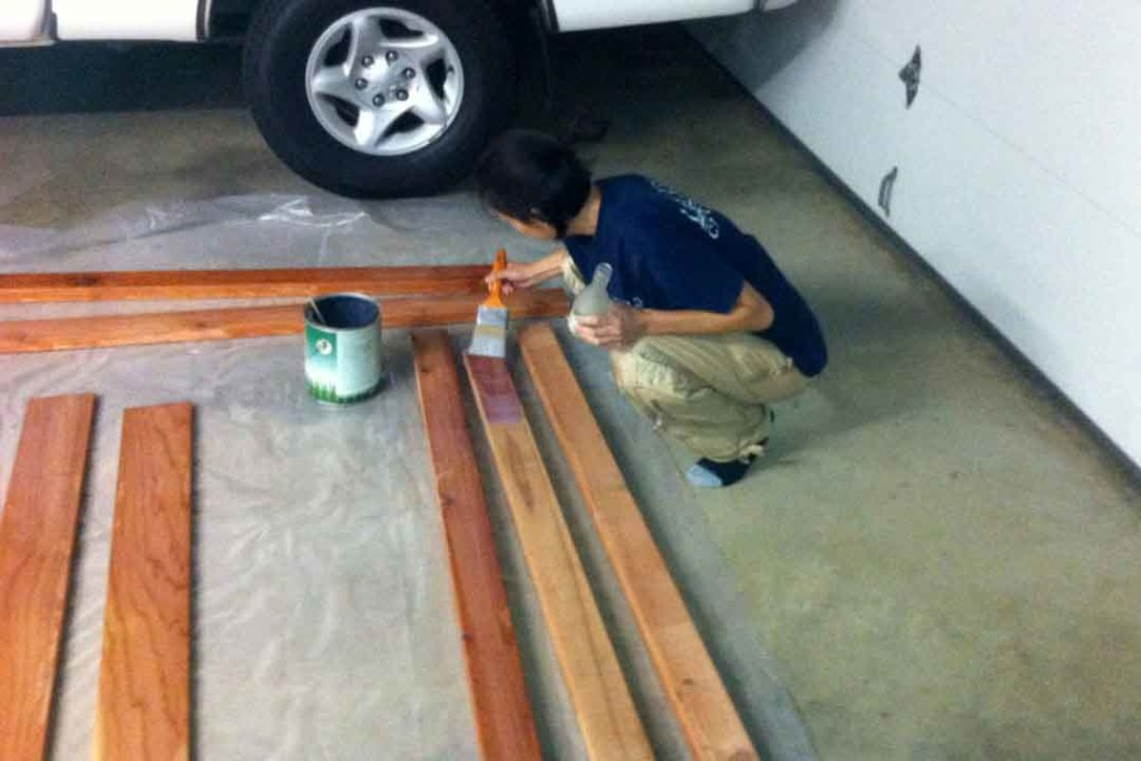 applying polyurethane to the wood