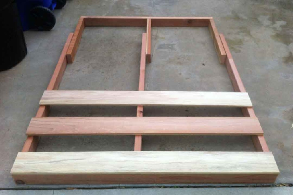 dry fitting pieces of wood for bed