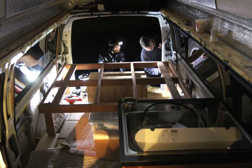 frame for bed inside van