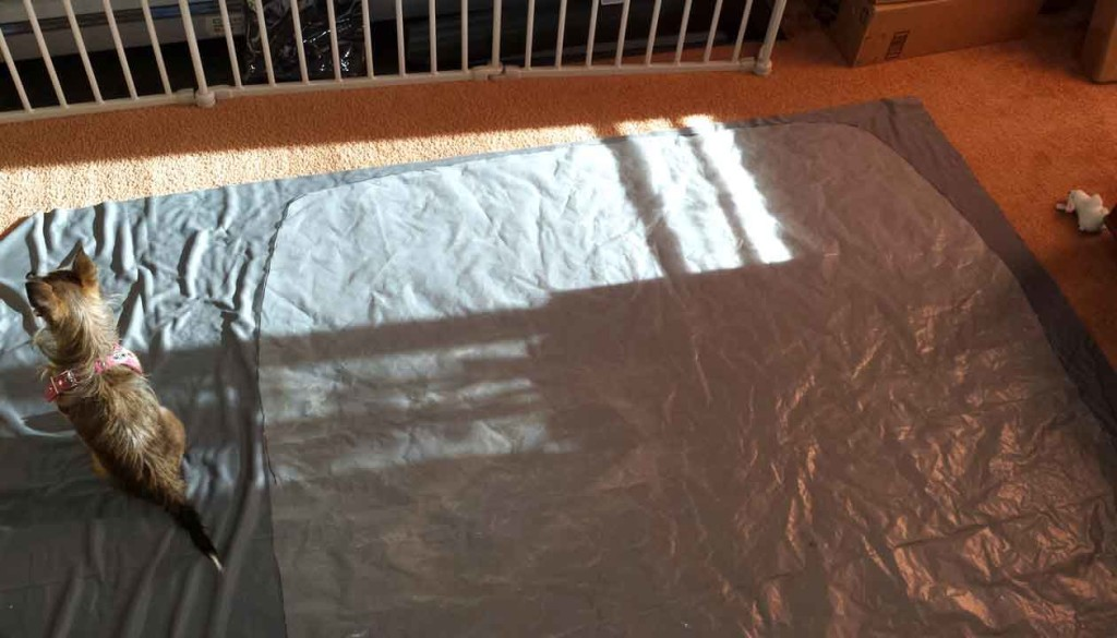 Plastic sheeting on top of fabric