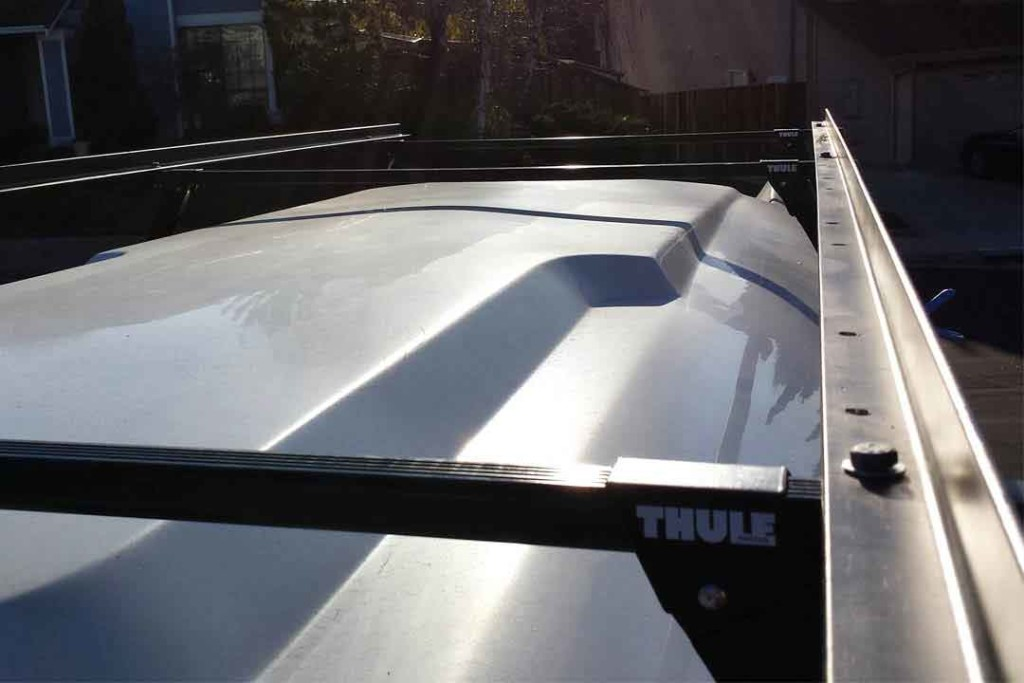 Thule roof rack with angle iron for solar panels