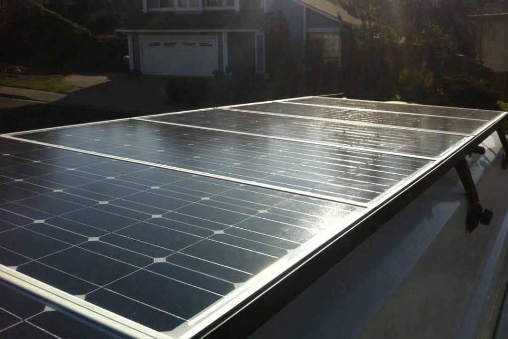 solar panels on top of the van