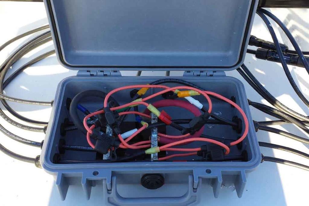 combiner box for solar panels on van