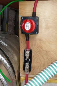 Disconnect switch and fuse holder for solar panel charge controller