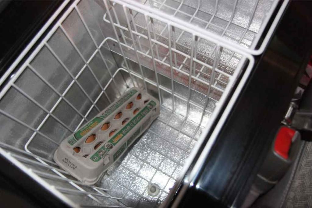 Eggs inside van refrigerator