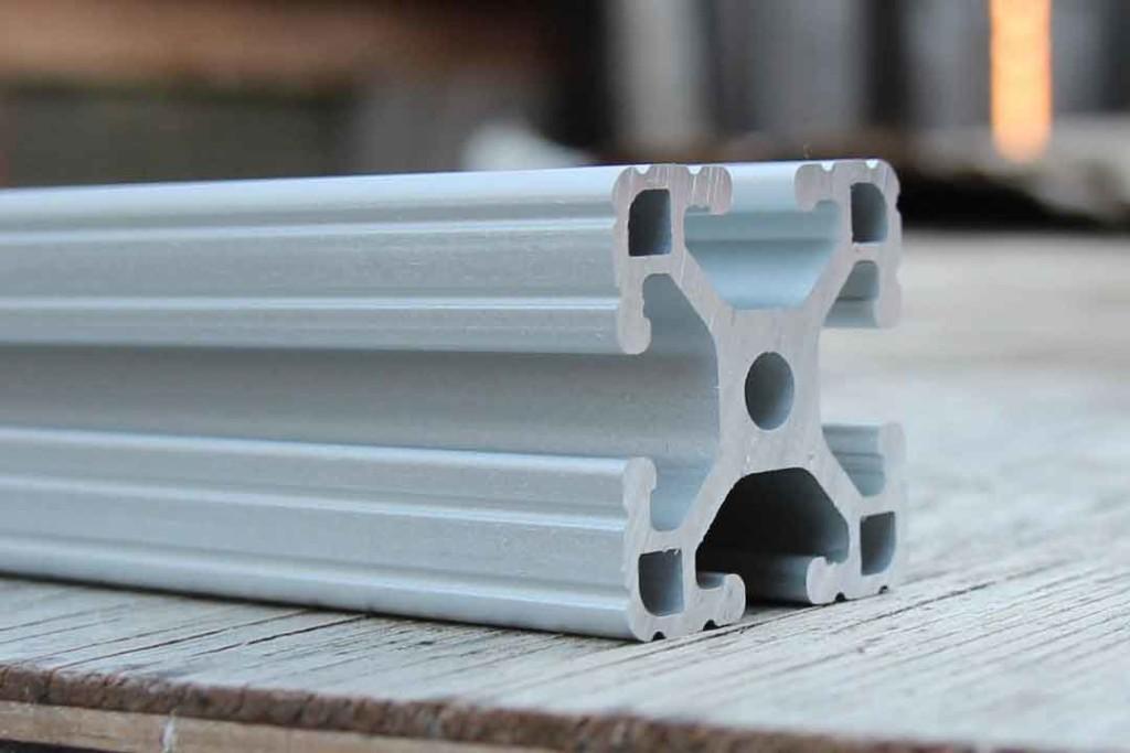 Closeup shot of extruded aluminum