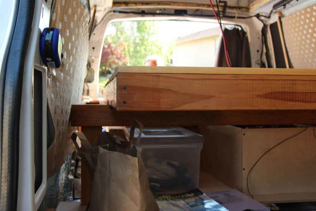 custom bed frame inside van