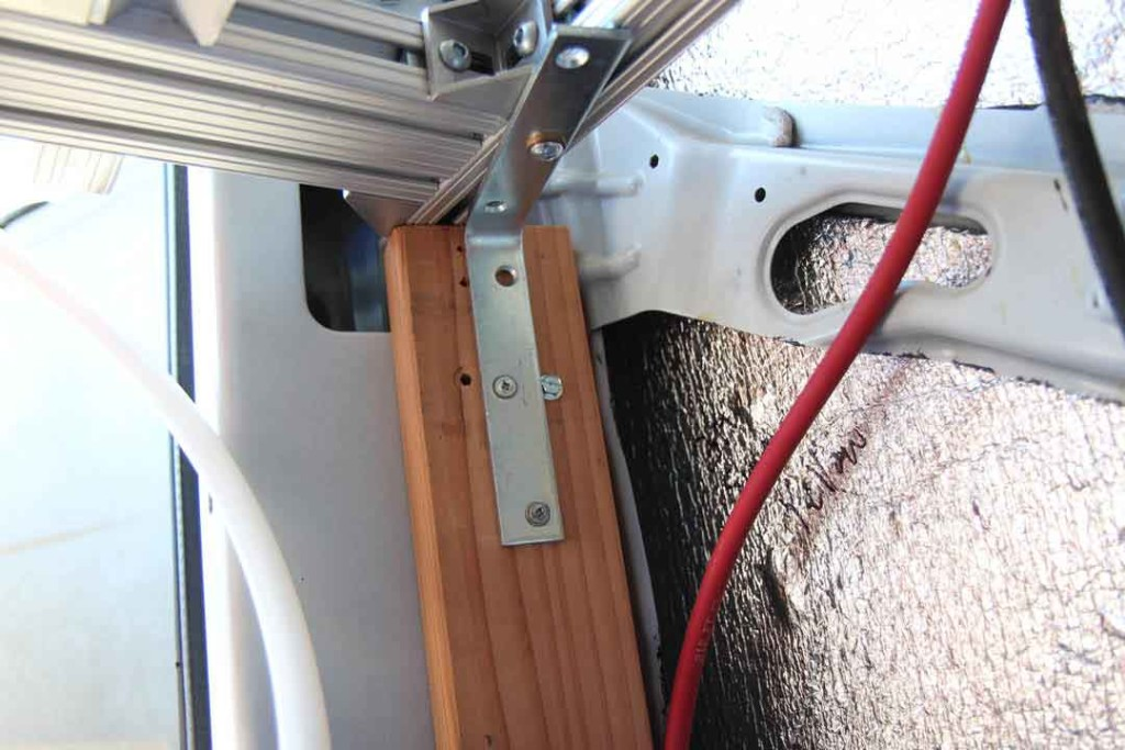 How I attached the bed frame to the van