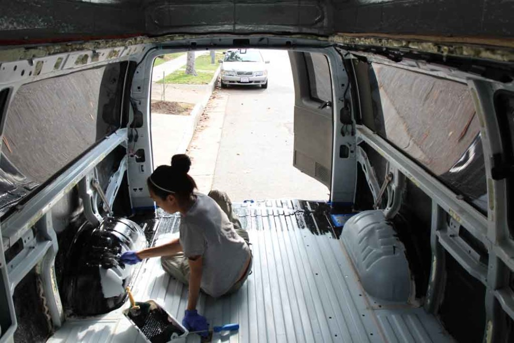 coating the interior of the van with bed liner