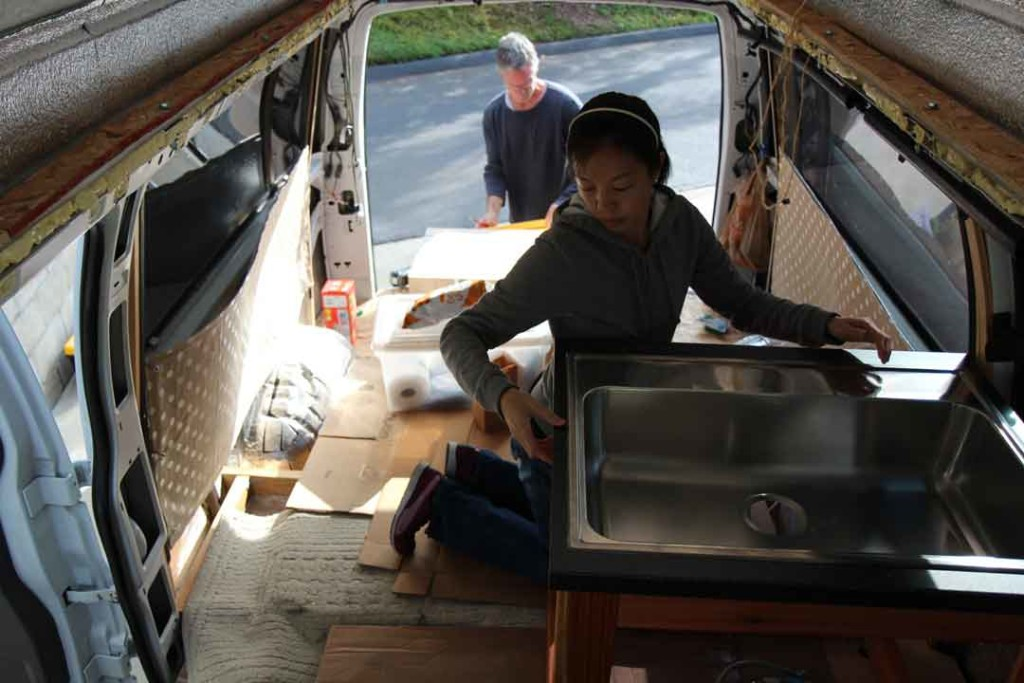 installing the sink in the van