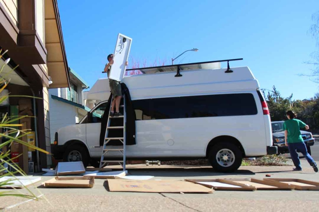 installing solar panels on the van