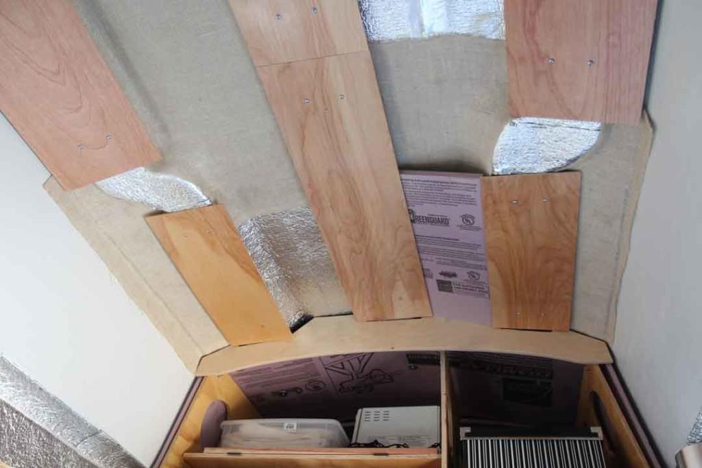 wood panels on van ceiling