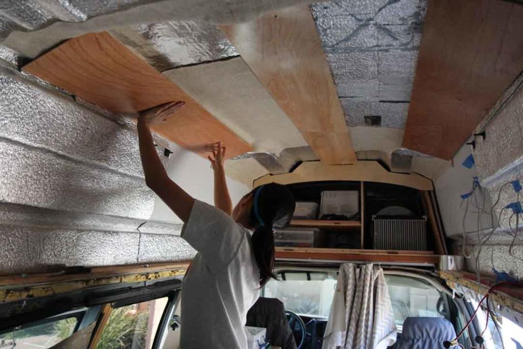 wood paneling on van ceiling