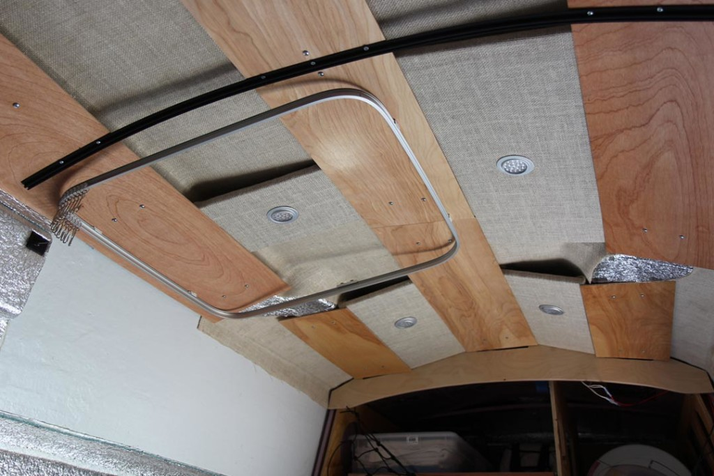 track for shower curtain inside van