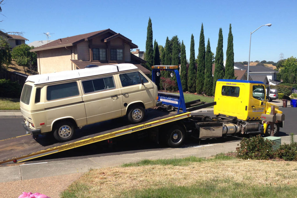 westfalia on a tow truck